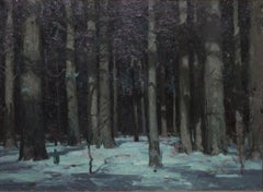 """Winter Woods Nocturne,"" Impressionist Woodstock Snow in Forest Landscape"
