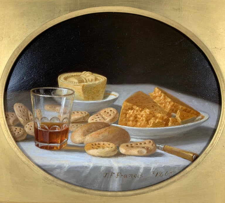Cakes and Cider & Grapes and Compote (pair of still lifes) - Painting by John F. Francis