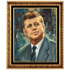 John F. Kennedy Modernist Abstract Presidential Portrait Signed H.E. Chung 1960s