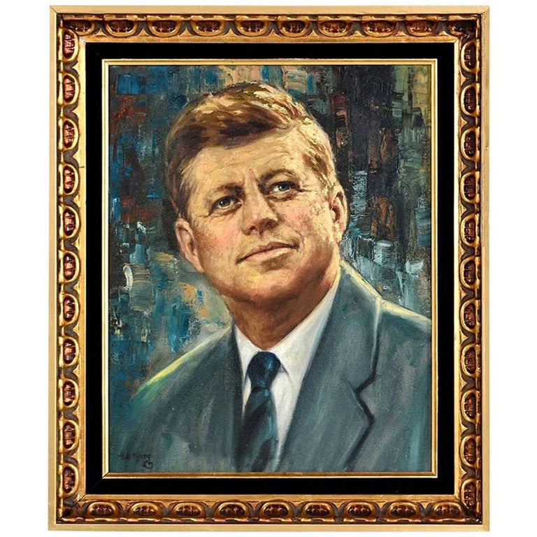 John F. Kennedy Modernist Abstract Presidential Portrait Signed H.E. Chung 1960s For Sale
