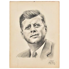 John F. Kennedy Portrait, Original Drawing Pencil on Paper Dated 1963, Signed