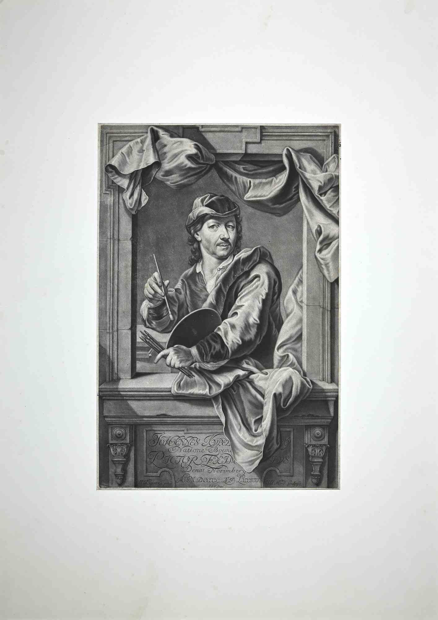 Portrait of Sculptor John Michael Rysbrack - Mezzotint by John Faber II - 1734