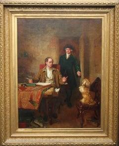 Sir Joshua Reynolds Visiting Goldsmith in Study- Exhibited British Victorian art