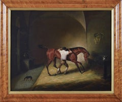 19th Century sporting animal oil painting of a horse & groom in a stable