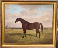 English 19th century portrait of a Horse in a landscape with cottage beyond.
