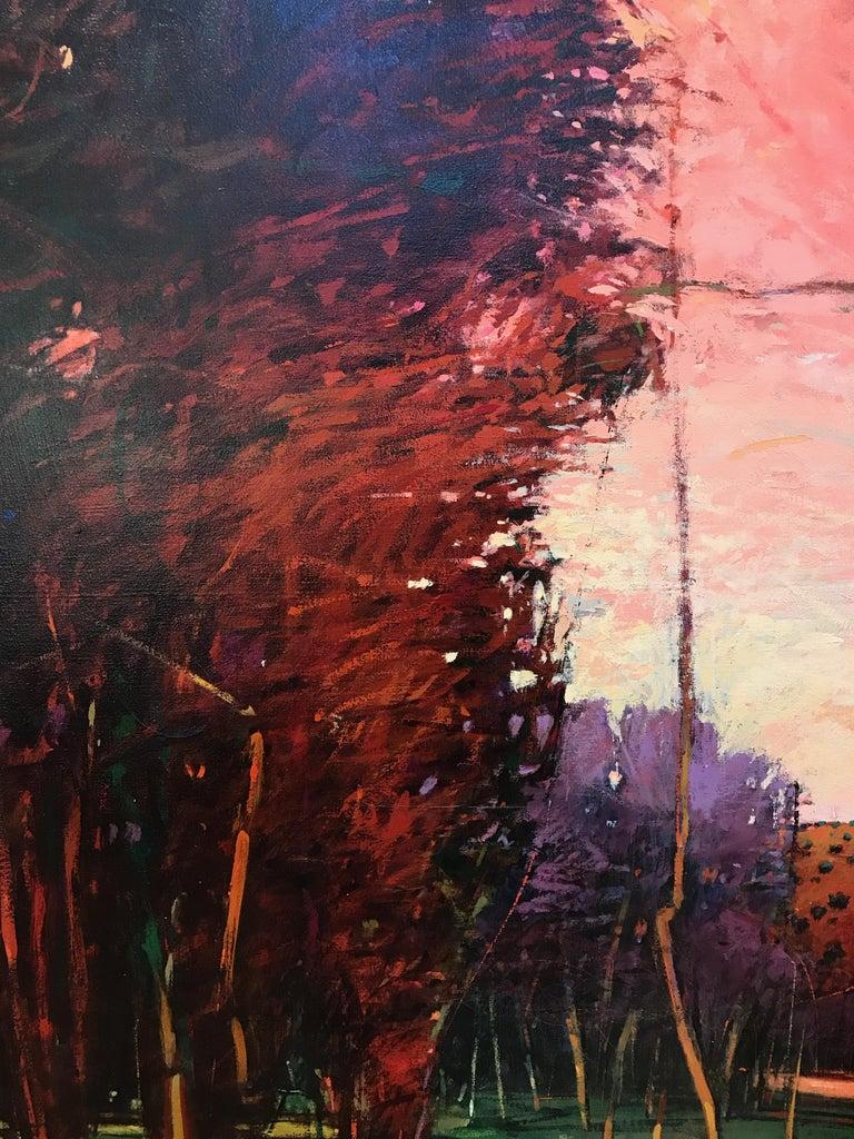 Big Tesuque Poplars, John Fincher, Santa Fe oil on canvas, trees, red, brown - Black Still-Life Painting by John Fincher