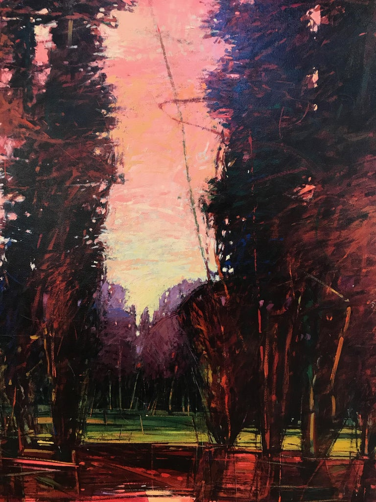 Big Tesuque Poplars, John Fincher, Santa Fe oil on canvas, trees, red, brown  Big Tesuque Poplars, oil on canvas, pink, red, brown, John Fincher, Santa Fe  framed 86 x 62 unique work on canvas