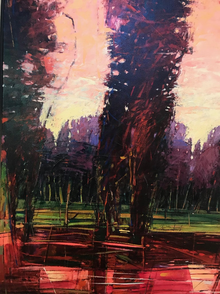Big Tesuque Poplars, John Fincher, Santa Fe oil on canvas, trees, red, brown For Sale 1