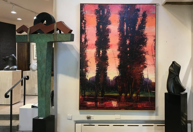Big Tesuque Poplars, John Fincher, Santa Fe oil on canvas, trees, red, brown For Sale 2
