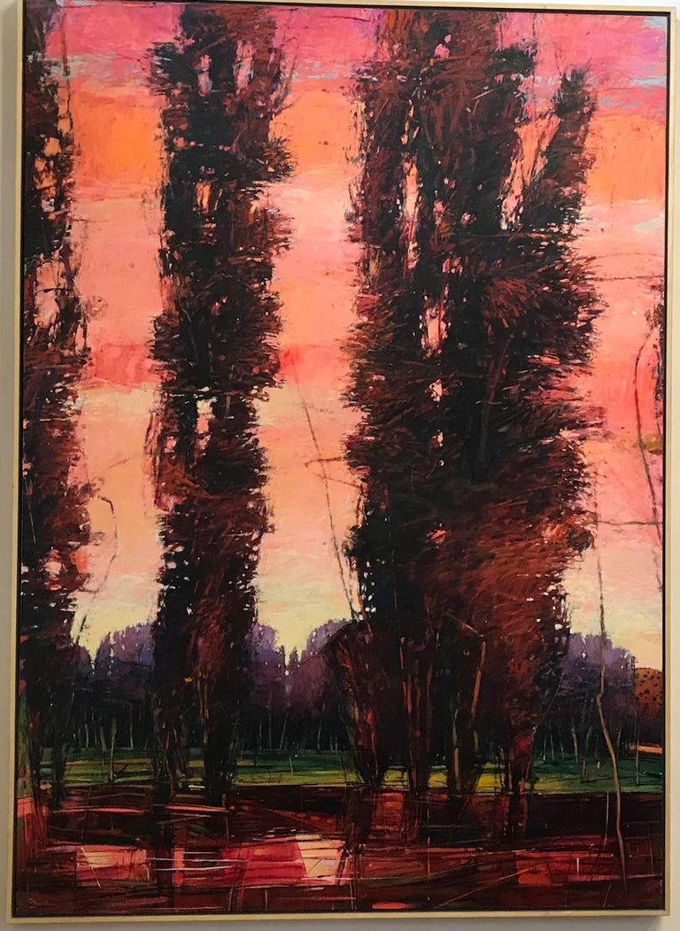 Big Tesuque Poplars, John Fincher, Santa Fe oil on canvas, trees, red, brown - Painting by John Fincher