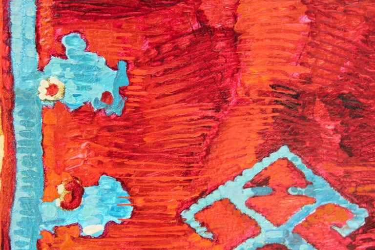 """""""Rug With Ring"""" Abstract Realist Blue and Orange Patterned Textile Still Life  For Sale 1"""