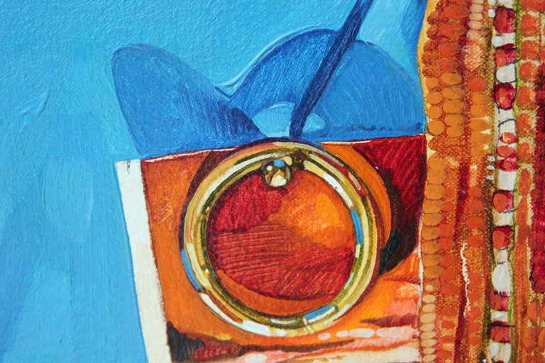 """""""Rug With Ring"""" Abstract Realist Blue and Orange Patterned Textile Still Life  For Sale 2"""