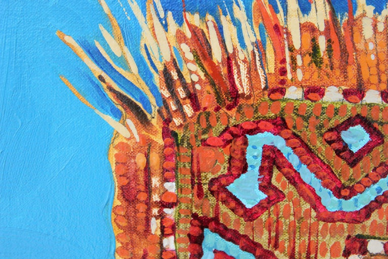 """""""Rug With Ring"""" Abstract Realist Blue and Orange Patterned Textile Still Life  For Sale 3"""