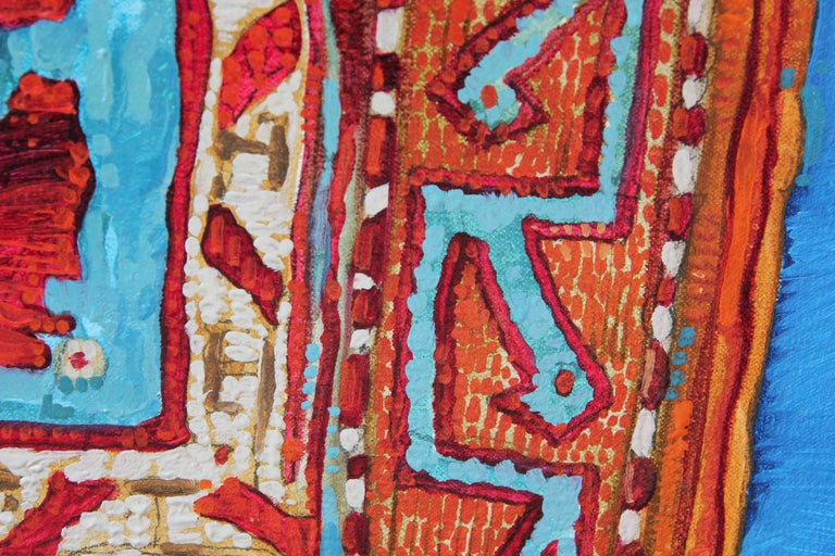 """""""Rug With Ring"""" Abstract Realist Blue and Orange Patterned Textile Still Life  For Sale 4"""