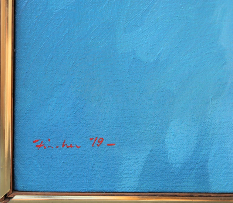 """""""Rug With Ring"""" Abstract Realist Blue and Orange Patterned Textile Still Life  For Sale 5"""