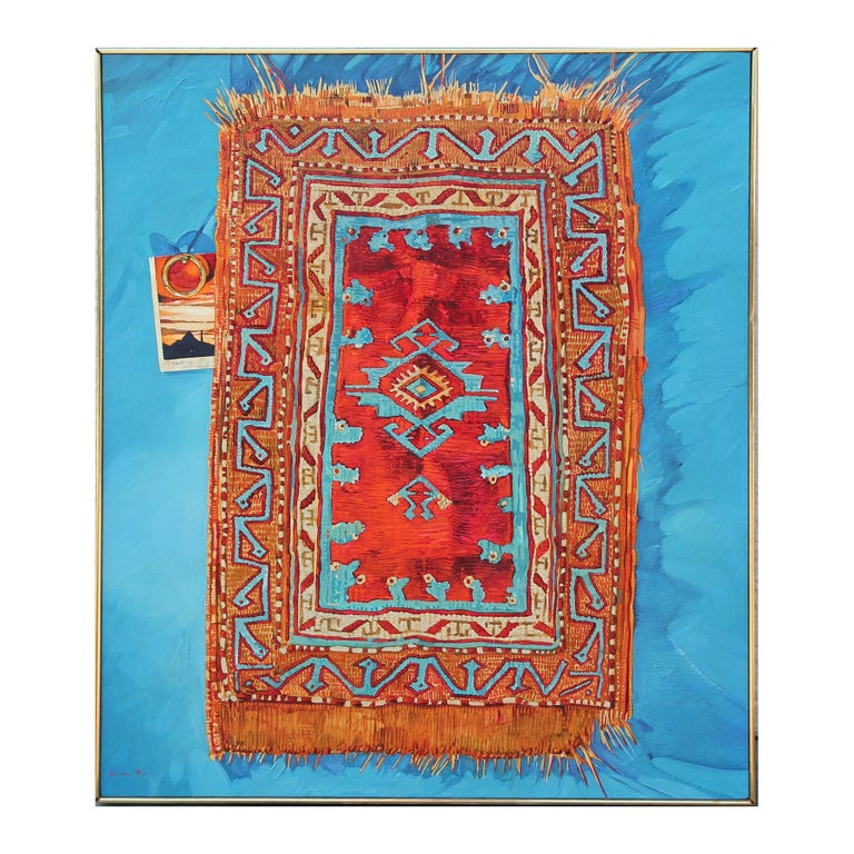 """John Fincher Abstract Painting - """"Rug With Ring"""" Abstract Realist Blue and Orange Patterned Textile Still Life"""