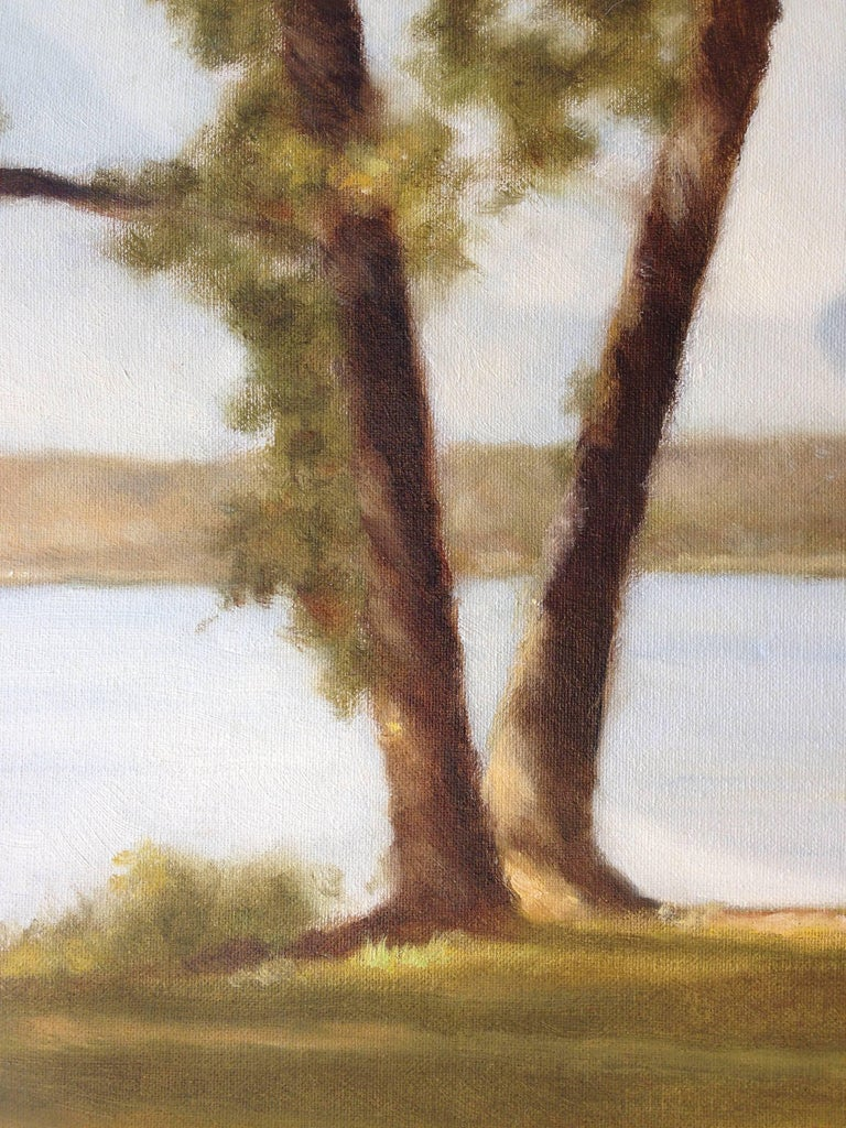 Lakeside Breeze - Brown Landscape Painting by John Folchi