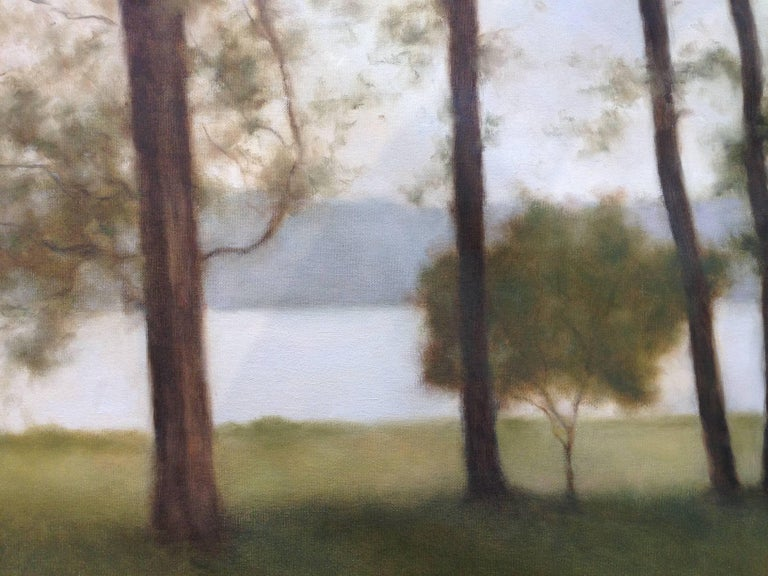 Lakeside Calm - American Impressionist Painting by John Folchi