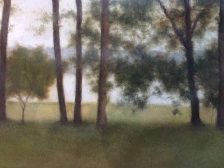 Lakeside Calm - Brown Landscape Painting by John Folchi