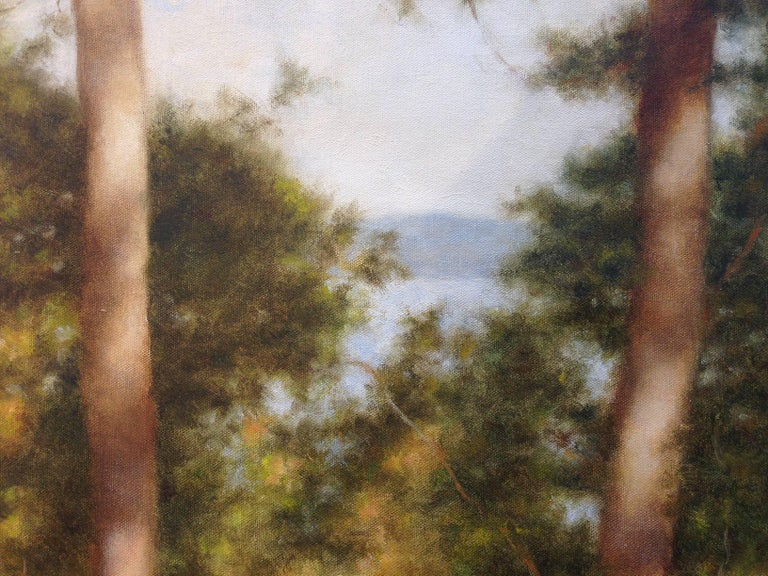 Two Trees by the Lake - Painting by John Folchi