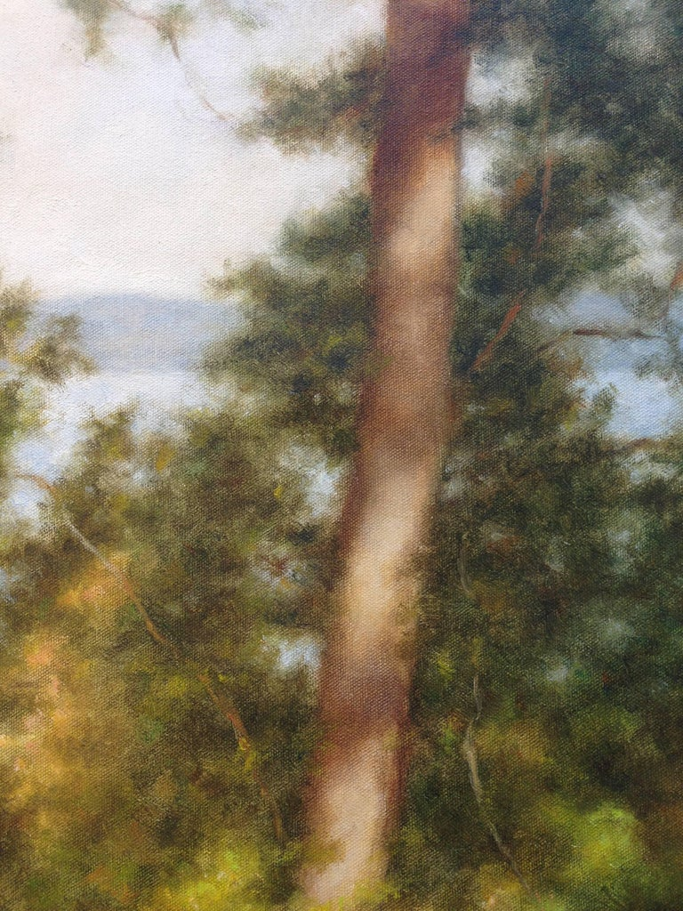 Two Trees by the Lake - American Impressionist Painting by John Folchi