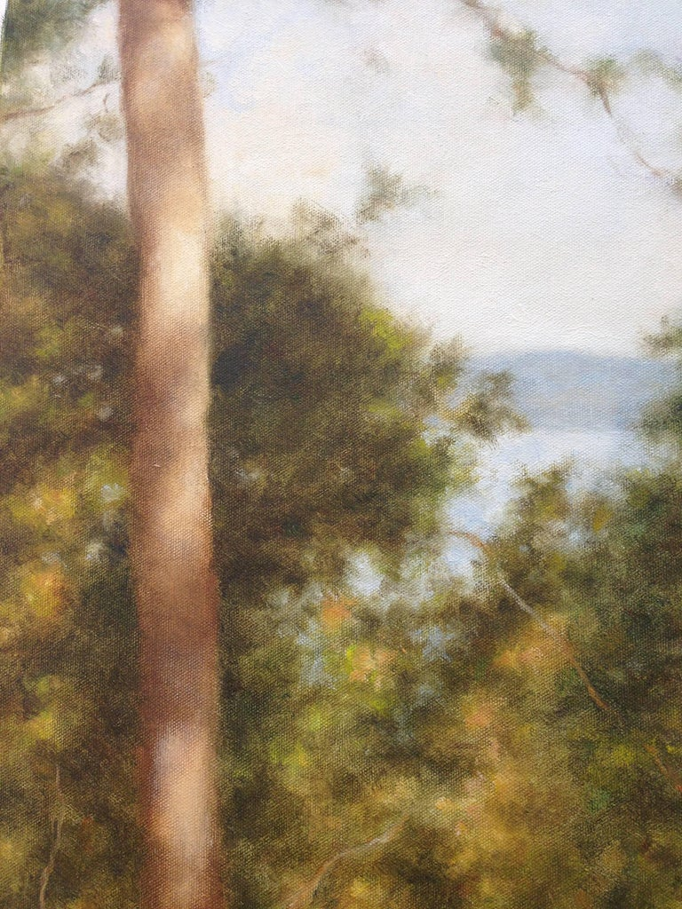 Two Trees by the Lake - Brown Landscape Painting by John Folchi