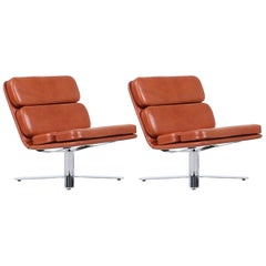 "John Follis ""Solo"" Cognac Leather Lounge Chairs for Fortress"