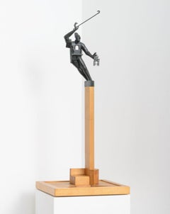 """Balance"" 1/1 in wood base, bronze sculpture by John Frame"