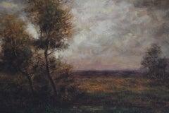 """""""Landscape at Dawn,"""" Antique American Tonalist Hudson River School Landscape"""