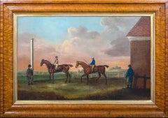 Portrait Of A Pair Of Race Horses & Jockey Up Top - John Francis Sartorius