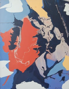 Black Red and Blue Abstract Expressionist