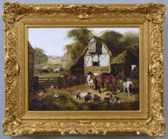 19th Century landscape animal oil painting of a farmyard with horses