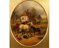 19th century landscape painting- country,horses,pigs,poultry,  j f herring jr