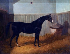 A black thoroughbred horse in a stable by John Frederick Herring
