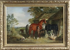 A Farmyard Scene with Horses, Geese and Chickens