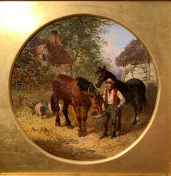 Antique English Horses, Pigs and a farmer in a farmyard landscape, brown blue
