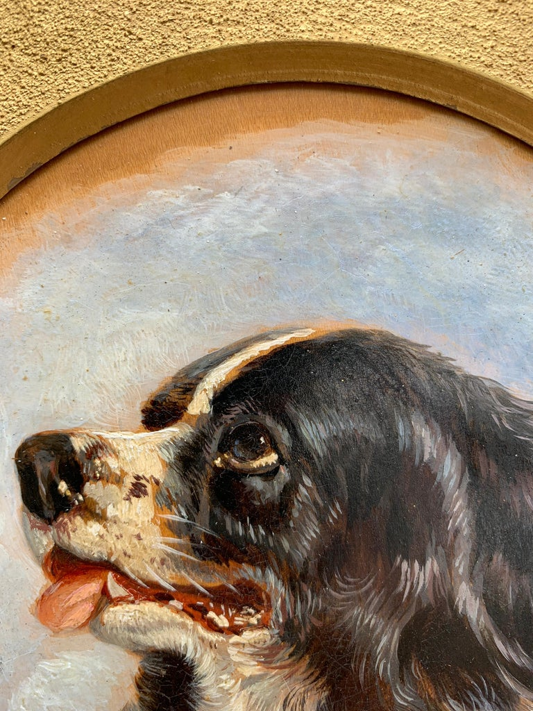 English Antique oil painting of an English Spaniel dog head For Sale 1