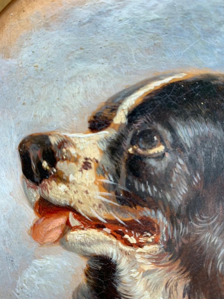 English Antique oil painting of an English Spaniel dog head For Sale 2