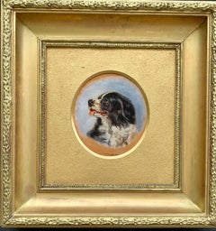 English Antique oil painting of an English Spaniel dog head
