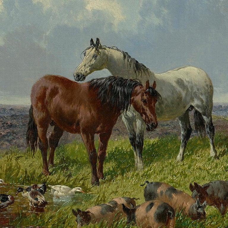 Farmyard Friends - Academic Painting by John Frederick Herring Jr.