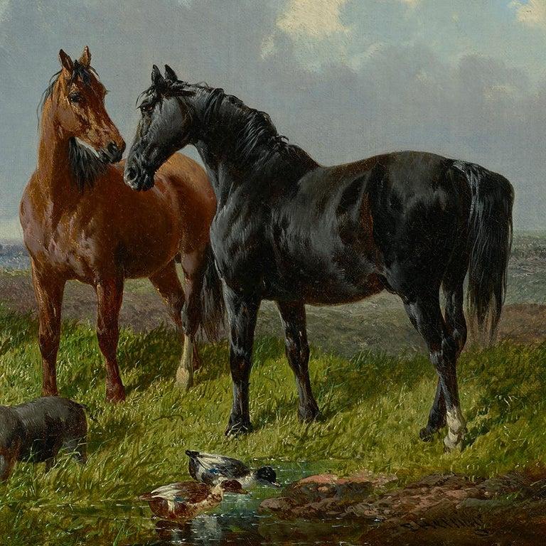 Farmyard Friends - Gray Animal Painting by John Frederick Herring Jr.