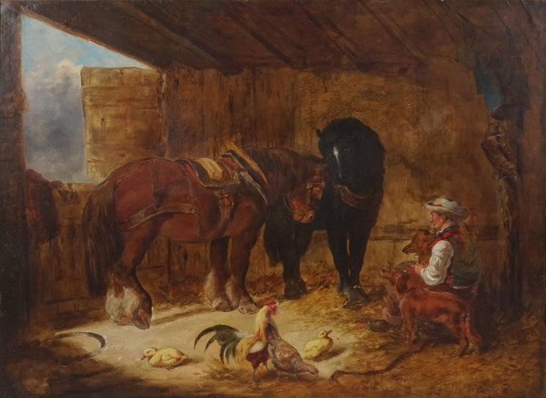 Mid 19th Century Interior of Stable with Horses, Dogs, and Stable Hand - Painting by Unknown