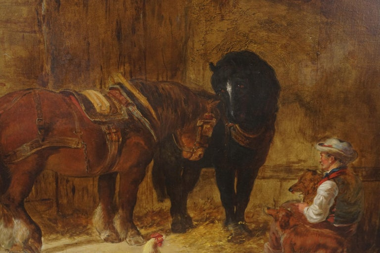 Mid 19th Century Interior of Stable with Horses, Dogs, and Stable Hand - Impressionist Painting by Unknown