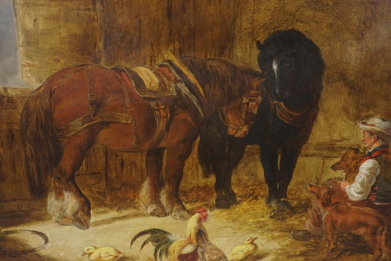 Mid 19th Century Interior of Stable with Horses, Dogs, and Stable Hand - Brown Figurative Painting by Unknown