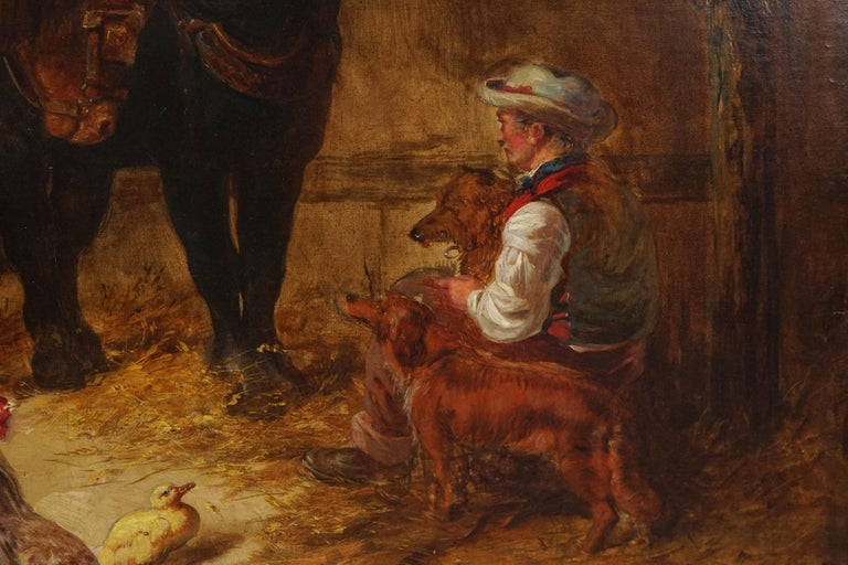 Wonderful mid 19th Century painting of a stable's interior with two horses, stable hand, two spaniels, a rooster and ducks from a follower of John Frederick Herring, Sr. (British, 1795 - 1865). Unsigned. Condition: Good; painting has been relined