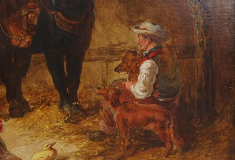 Mid 19th Century Interior of Stable with Horses, Dogs, and Stable Hand For Sale 1
