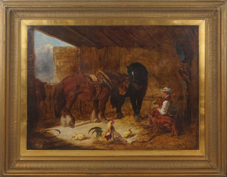 Unknown Figurative Painting - Mid 19th Century Interior of Stable with Horses, Dogs, and Stable Hand