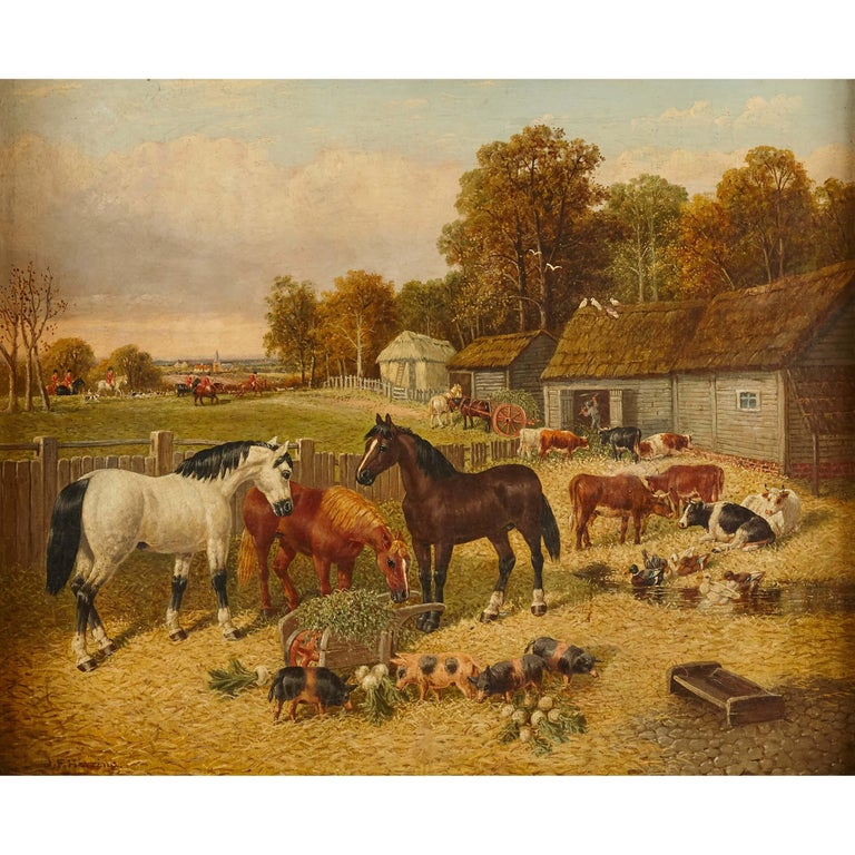 Painting of horses and farm animals by Herring the Younger - Brown Landscape Painting by John Frederick Herring Jr.