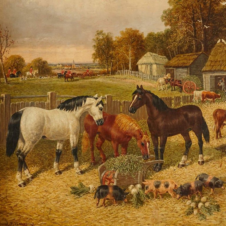 Painting of horses and farm animals by Herring the Younger British, 19th Century Frame: Height 83cm, width 97cm Canvas: Height 64cm, width 77cm  This charming painting is by John Frederick Herring the Younger, son of John Frederick Herring the