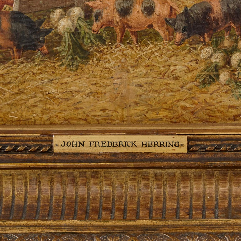 Painting of horses and farm animals by Herring the Younger For Sale 1